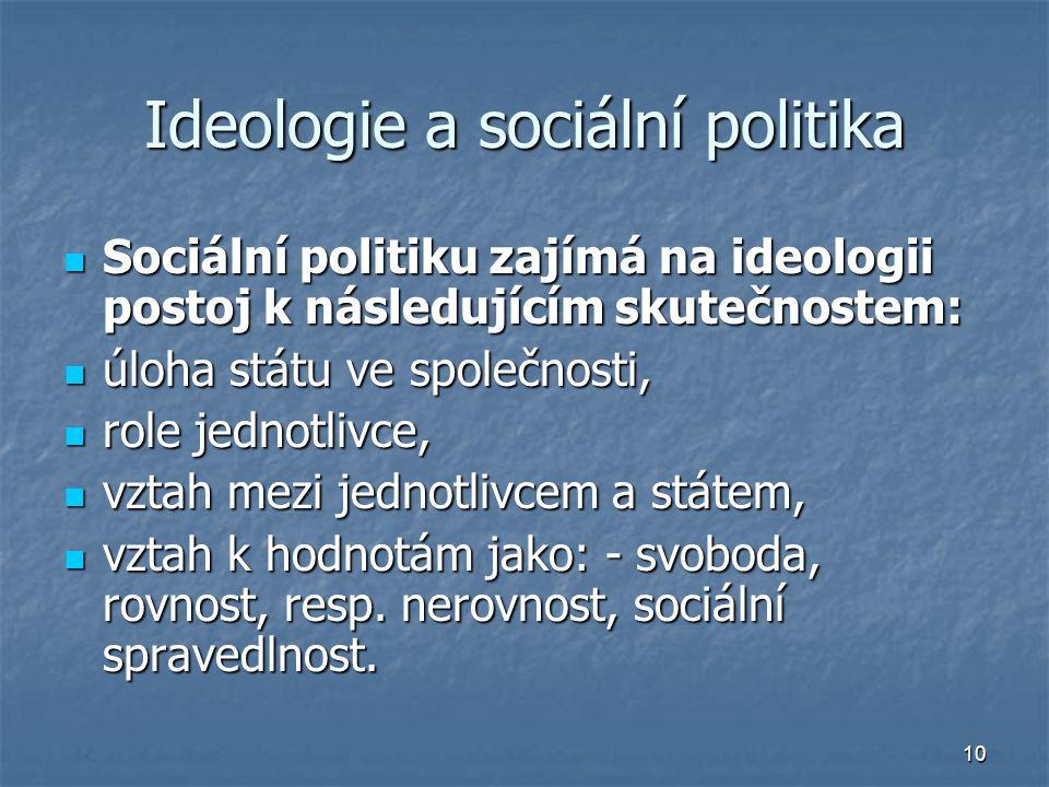 10 Ideologie a sociální politika Sociální politiku zajímá na ideologii postoj k následujícím skutečnostem: Sociální politiku zajímá na ideologii postoj k následujícím skutečnostem: úloha státu ve společnosti, úloha státu ve společnosti, role jednotlivce, role jednotlivce, vztah mezi jednotlivcem a státem, vztah mezi jednotlivcem a státem, vztah k hodnotám jako: - svoboda, rovnost, resp.