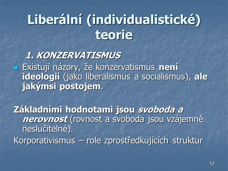 12 Liberální (individualistické) teorie 1.