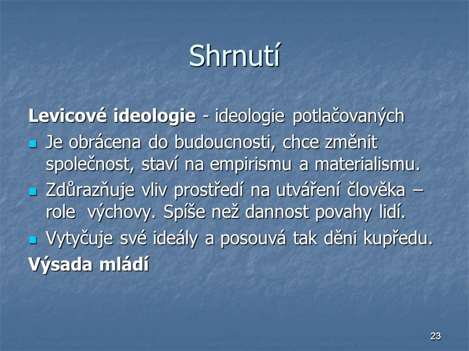 23 Shrnutí Levicové ideologie - ideologie potlačovaných Je obrácena do budoucnosti, chce změnit společnost, staví na empirismu a materialismu.