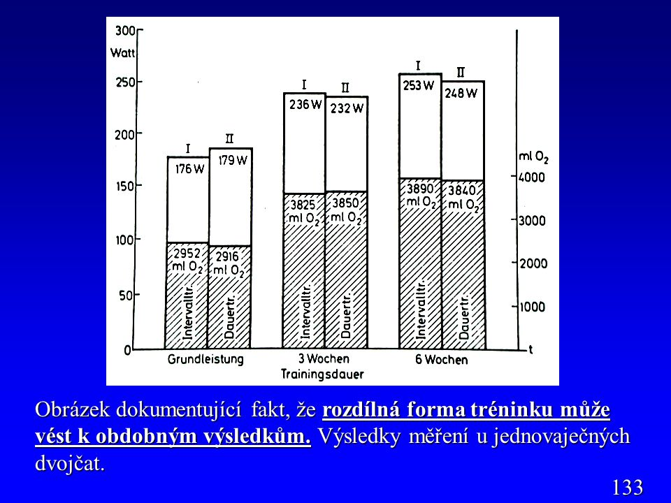 Obrázek dokumentující fakt, že rozdílná forma tréninku může vést k obdobným výsledkům. Výsledky měření u jednovaječných dvojčat. 133