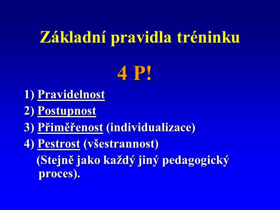 Základní pravidla tréninku 4 P! 4 P! 1) Pravidelnost 2) Postupnost 3) Přiměřenost (individualizace) 4) Pestrost (všestrannost) (Stejně jako každý jiný