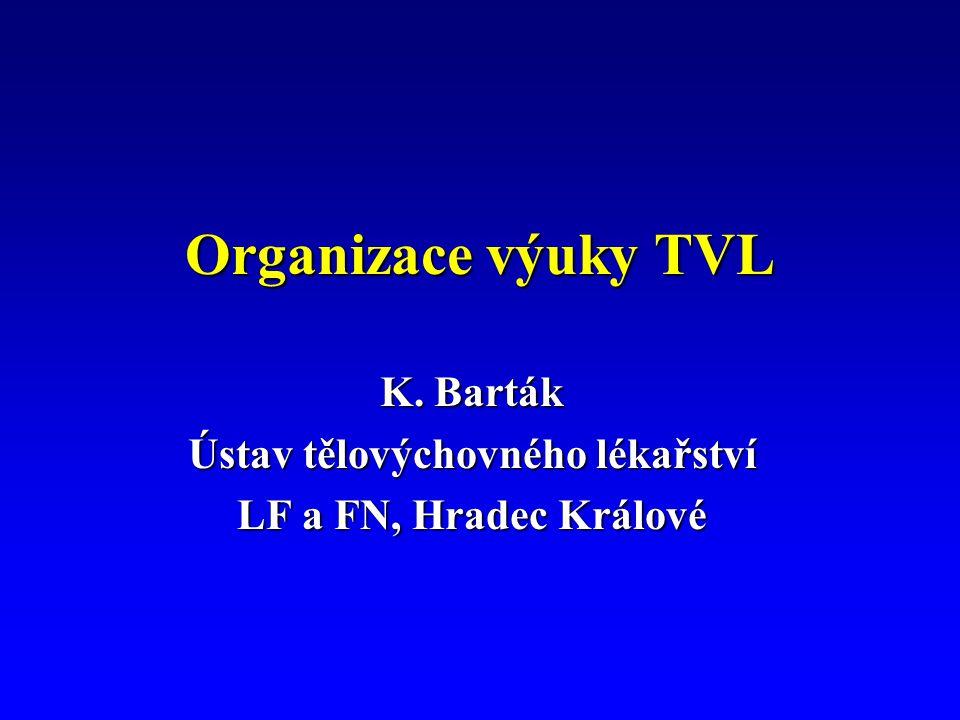 Organizace výuky TVL K. Barták Ústav tělovýchovného lékařství LF a FN, Hradec Králové