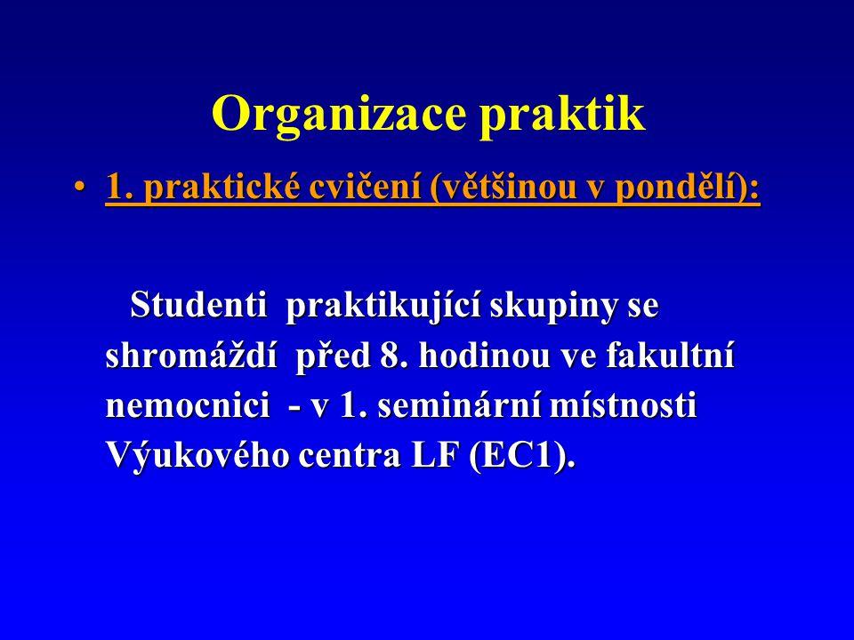 Organizace praktik 1. praktické cvičení (většinou v pondělí):1.