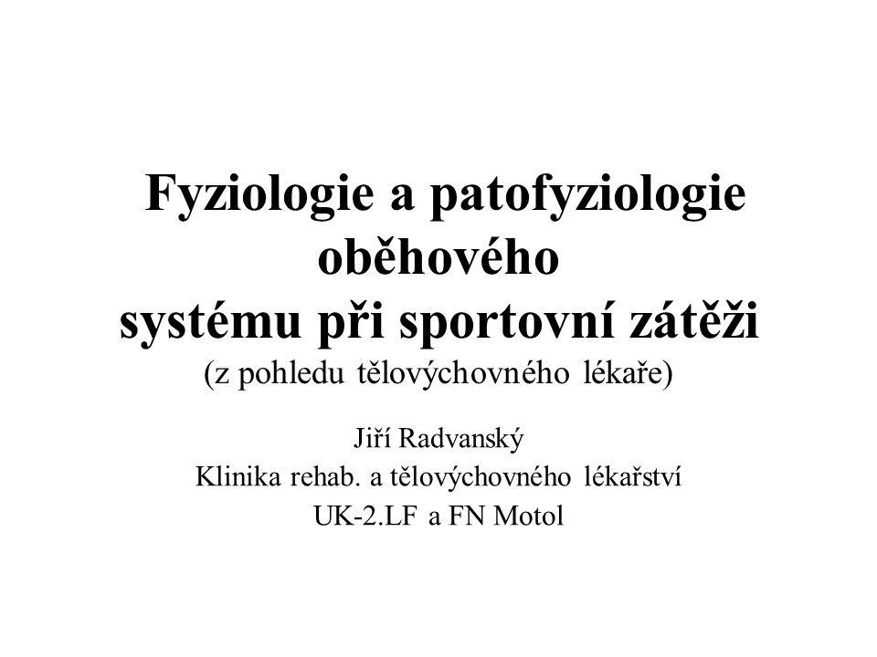 Fyziologie a patofyziologie oběhového systému při sportovní zátěži (z pohledu tělovýchovného lékaře) Jiří Radvanský Klinika rehab. a tělovýchovného lé