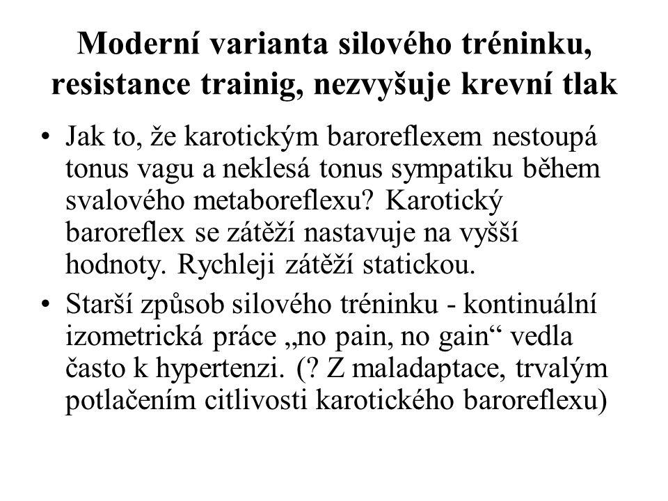 Moderní varianta silového tréninku, resistance trainig, nezvyšuje krevní tlak Jak to, že karotickým baroreflexem nestoupá tonus vagu a neklesá tonus s