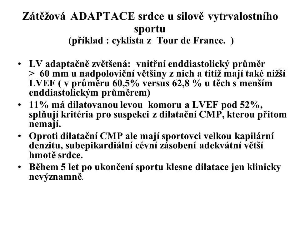 Zátěžová ADAPTACE srdce u silově vytrvalostního sportu (příklad : cyklista z Tour de France. ) LV adaptačně zvětšená: vnitřní enddiastolický průměr >