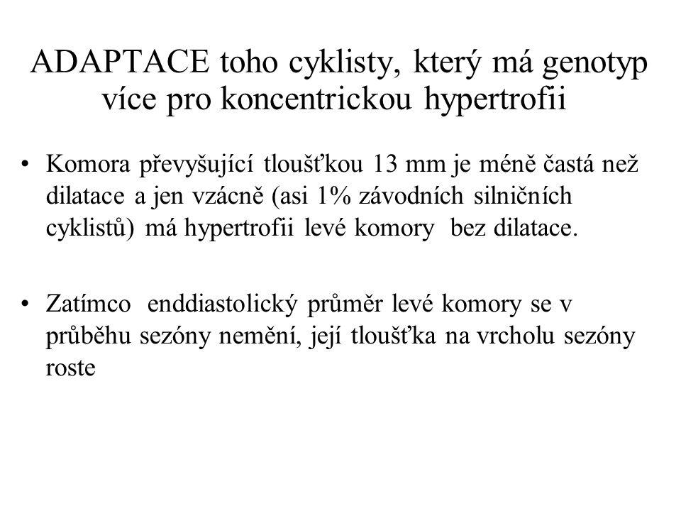 ADAPTACE toho cyklisty, který má genotyp více pro koncentrickou hypertrofii Komora převyšující tloušťkou 13 mm je méně častá než dilatace a jen vzácně