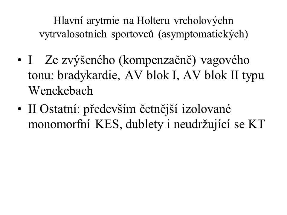 Hlavní arytmie na Holteru vrcholovýchn vytrvalosotních sportovců (asymptomatických) I Ze zvýšeného (kompenzačně) vagového tonu: bradykardie, AV blok I