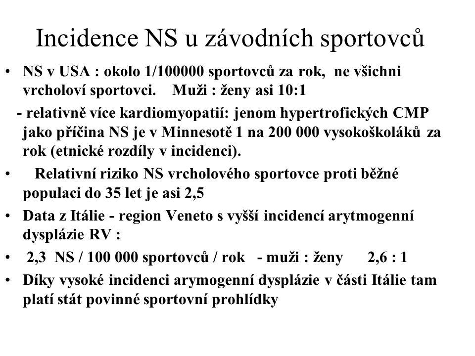 Incidence NS u závodních sportovců NS v USA : okolo 1/100000 sportovců za rok, ne všichni vrcholoví sportovci. Muži : ženy asi 10:1 - relativně více k