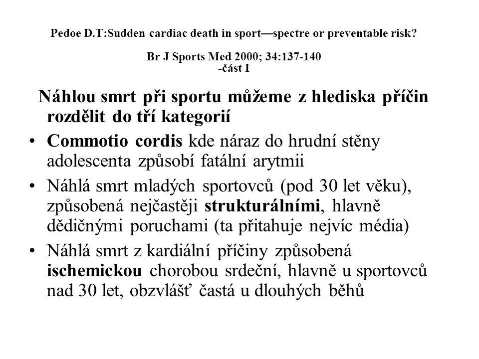 Pedoe D.T:Sudden cardiac death in sport—spectre or preventable risk? Br J Sports Med 2000; 34:137-140 -část I Náhlou smrt při sportu můžeme z hlediska