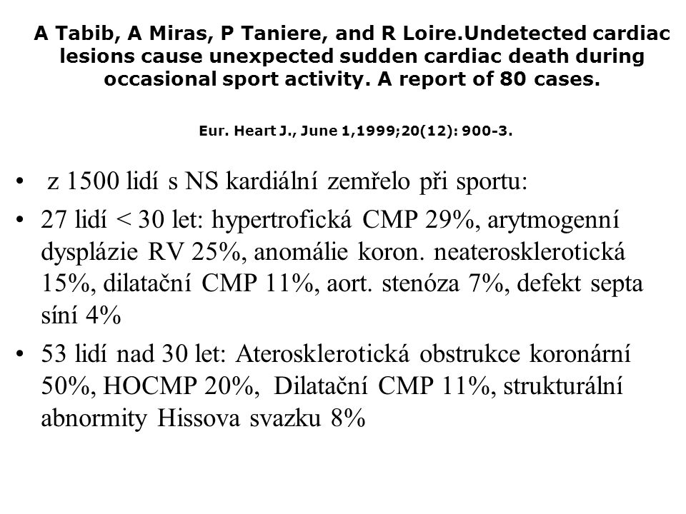A Tabib, A Miras, P Taniere, and R Loire.Undetected cardiac lesions cause unexpected sudden cardiac death during occasional sport activity. A report o