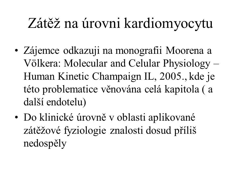 Zátěž na úrovni kardiomyocytu Zájemce odkazuji na monografii Moorena a Völkera: Molecular and Celular Physiology – Human Kinetic Champaign IL, 2005.,