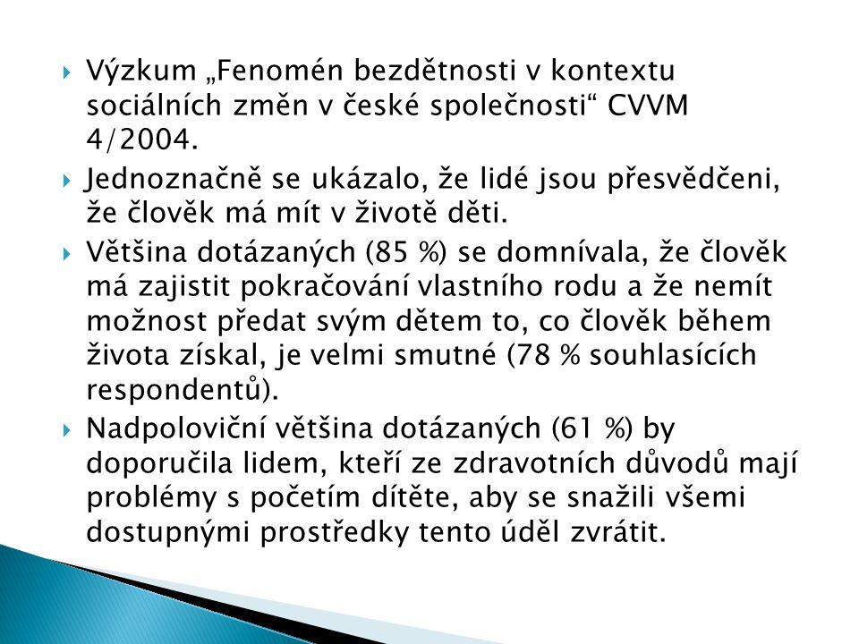 """ Výzkum """"Fenomén bezdětnosti v kontextu sociálních změn v české společnosti CVVM 4/2004."""