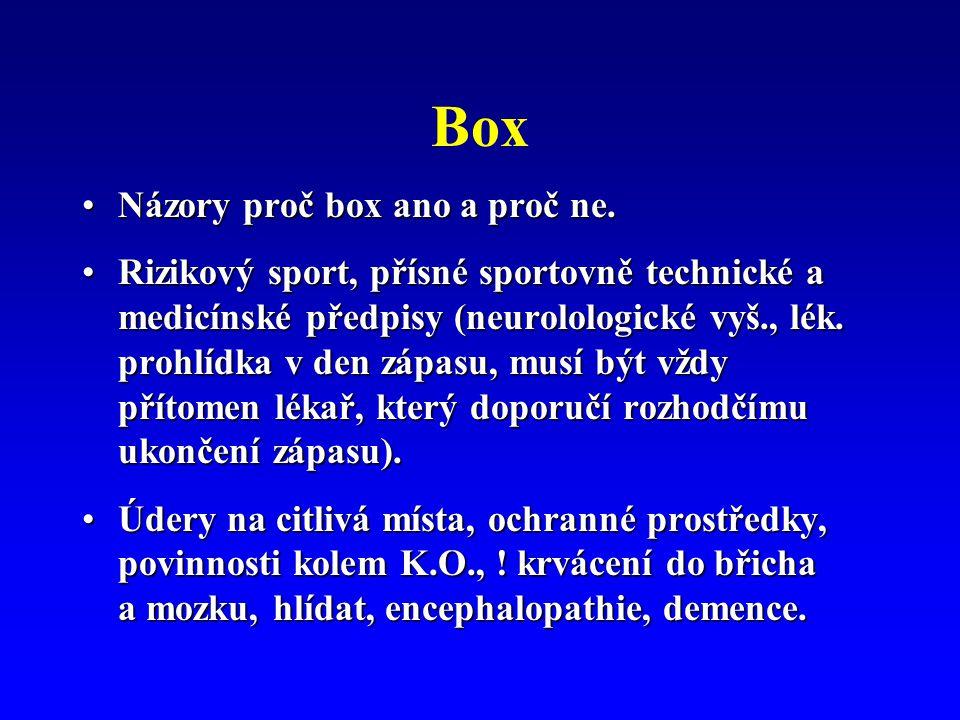 Box Názory proč box ano a proč ne.Názory proč box ano a proč ne. Rizikový sport, přísné sportovně technické a medicínské předpisy (neurolologické vyš.