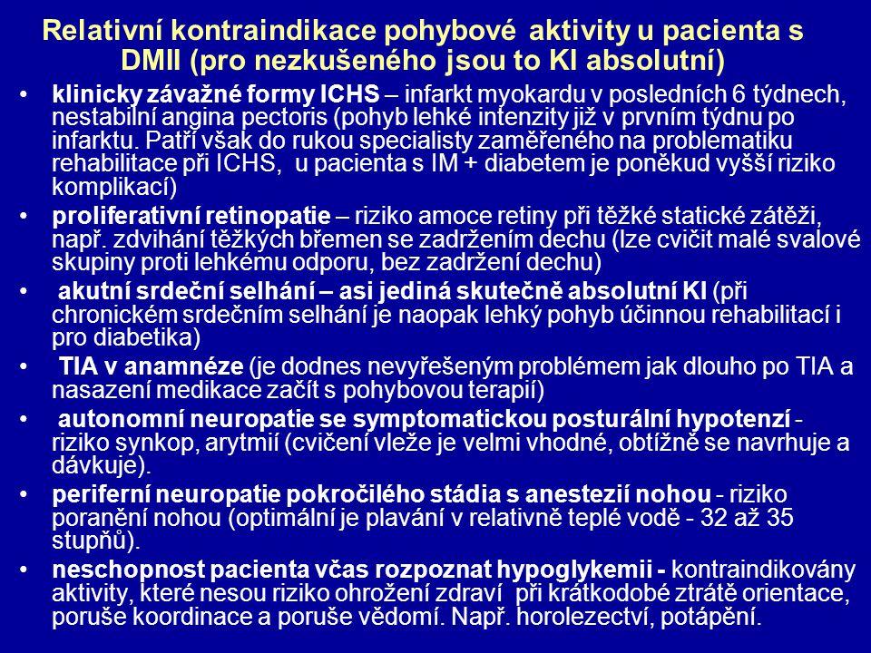 Relativní kontraindikace pohybové aktivity u pacienta s DMII (pro nezkušeného jsou to KI absolutní) klinicky závažné formy ICHS – infarkt myokardu v p