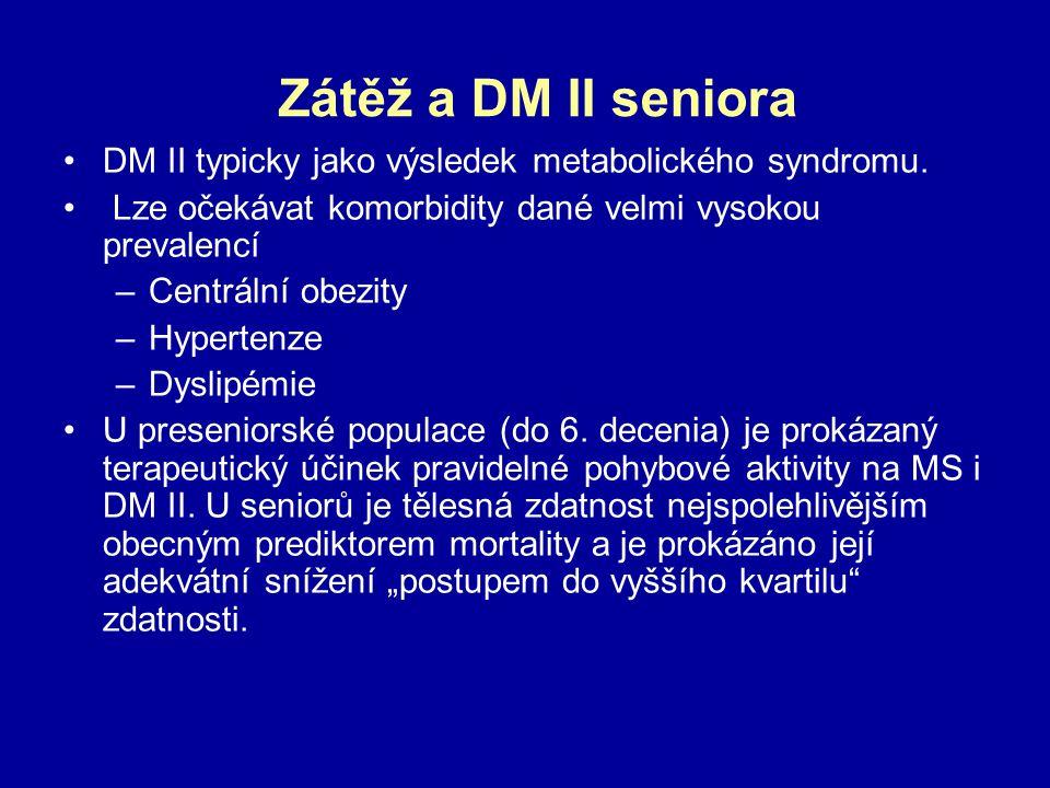 Zátěž a DM II seniora DM II typicky jako výsledek metabolického syndromu. Lze očekávat komorbidity dané velmi vysokou prevalencí –Centrální obezity –H
