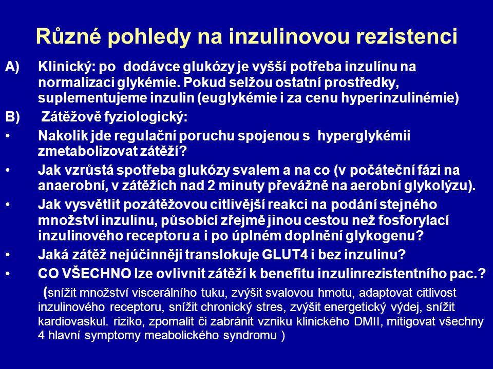 Různé pohledy na inzulinovou rezistenci A)Klinický: po dodávce glukózy je vyšší potřeba inzulínu na normalizaci glykémie. Pokud selžou ostatní prostře