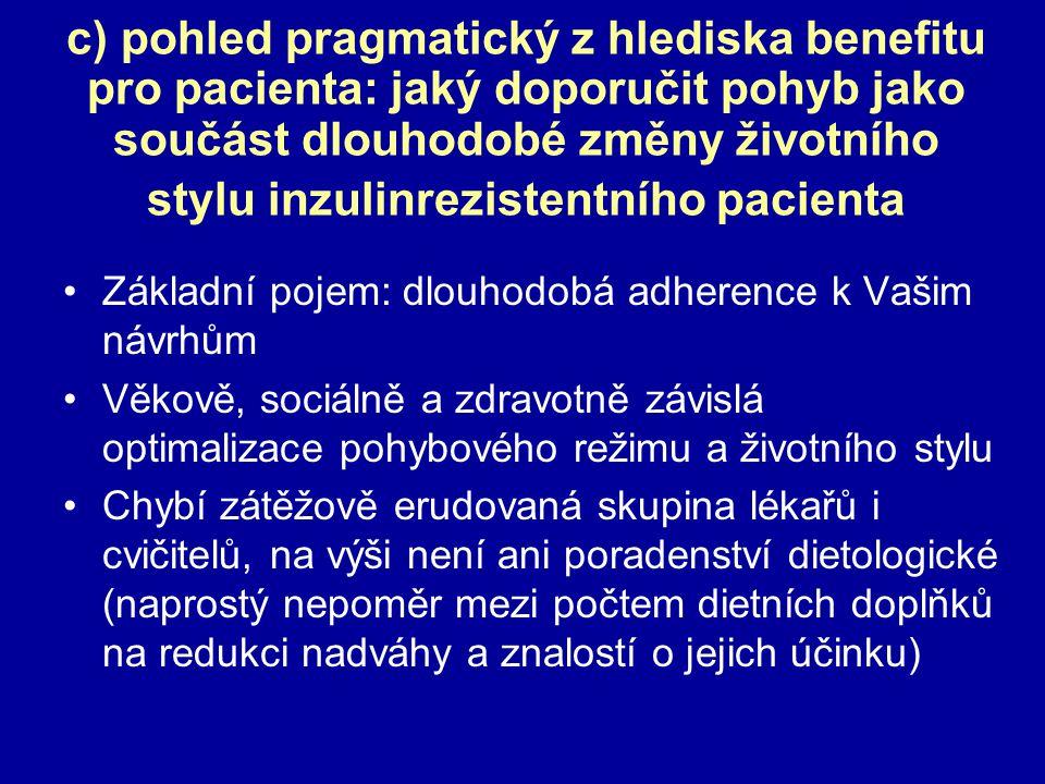 c) pohled pragmatický z hlediska benefitu pro pacienta: jaký doporučit pohyb jako součást dlouhodobé změny životního stylu inzulinrezistentního pacien