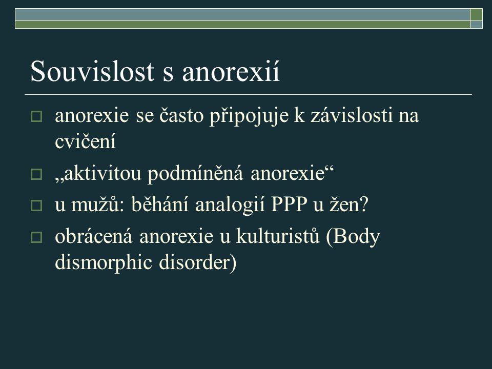 """Souvislost s anorexií  anorexie se často připojuje k závislosti na cvičení  """"aktivitou podmíněná anorexie""""  u mužů: běhání analogií PPP u žen?  ob"""