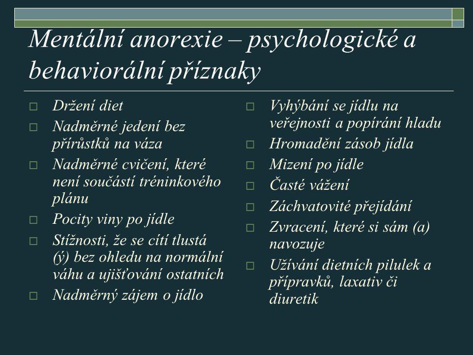 Mentální anorexie – psychologické a behaviorální příznaky  Držení diet  Nadměrné jedení bez přírůstků na váza  Nadměrné cvičení, které není součást