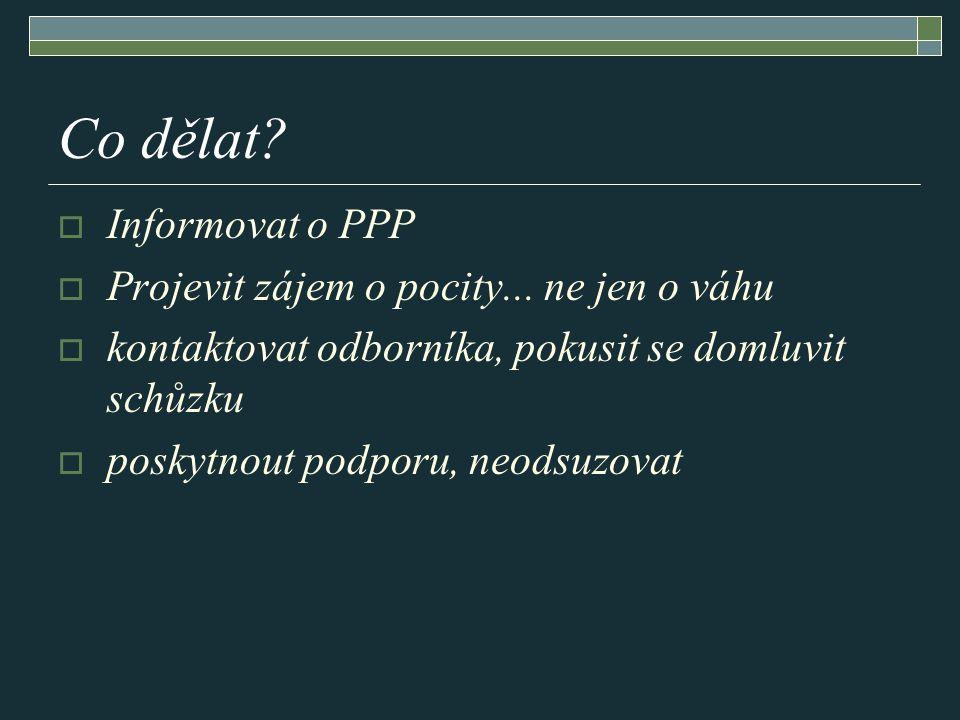 Co dělat?  Informovat o PPP  Projevit zájem o pocity... ne jen o váhu  kontaktovat odborníka, pokusit se domluvit schůzku  poskytnout podporu, neo