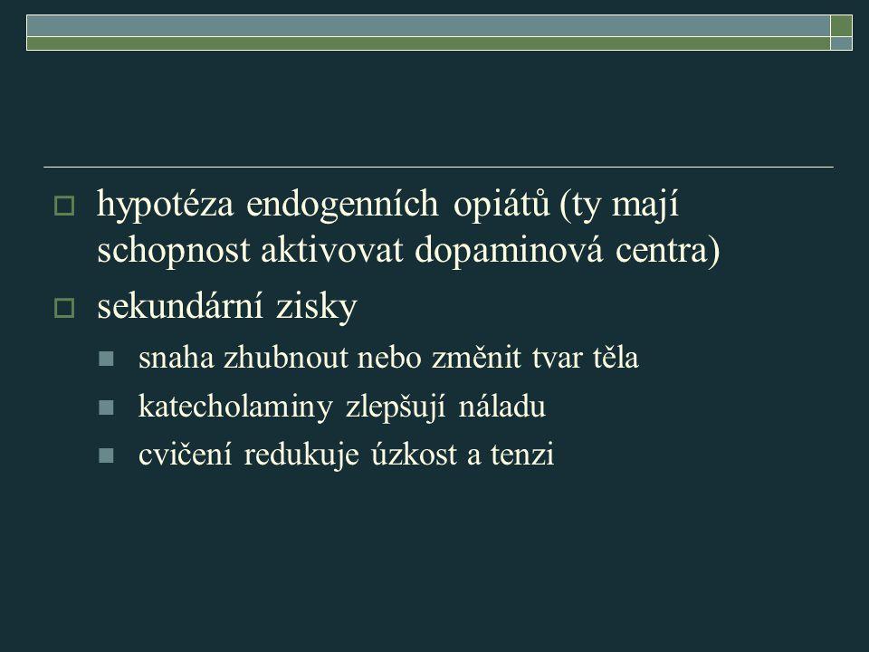  hypotéza endogenních opiátů (ty mají schopnost aktivovat dopaminová centra)  sekundární zisky snaha zhubnout nebo změnit tvar těla katecholaminy zl