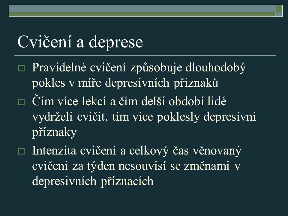 Depresivní porucha:  Příznaky: Skleslá nálada, snížení energie a aktivity Snížená schopnost se radovat, žádné zájmy, neschopnost koncentrace Unavitelnost i po nepatrné námaze Snížení sebevědomí a sebedůvěry Pocity viny a bezcennosti Smutný pohled do budoucnosti, myšlenky na sebepoškození a sebevraždu