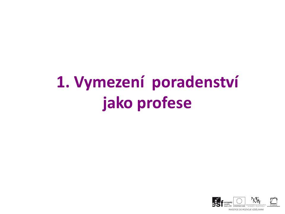 1. Vymezení poradenství jako profese