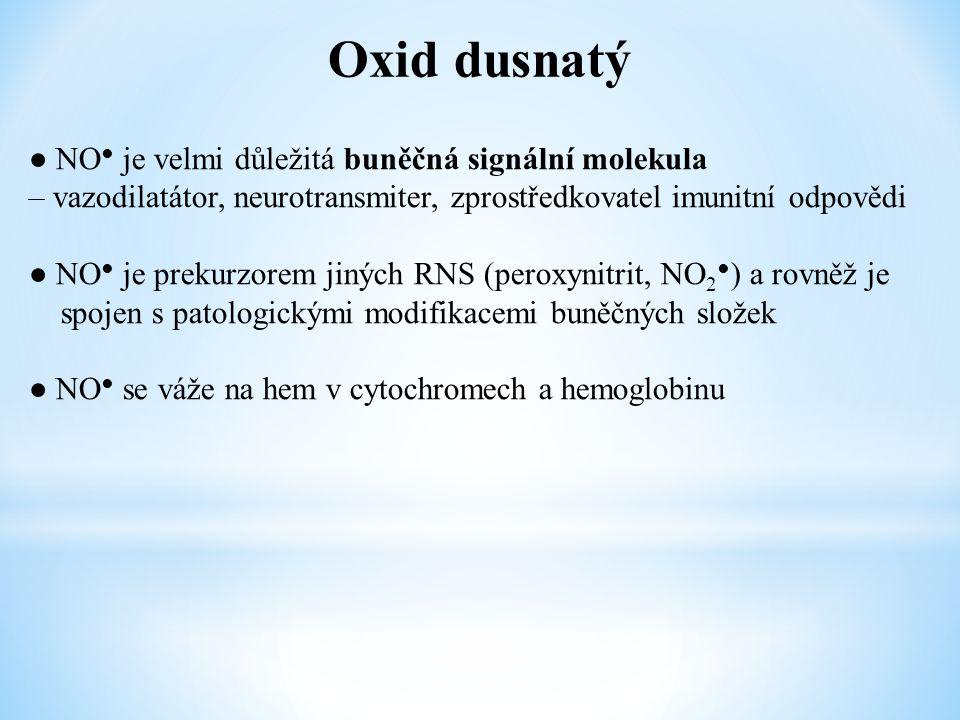 Oxid dusnatý ● NO ● je velmi důležitá buněčná signální molekula – vazodilatátor, neurotransmiter, zprostředkovatel imunitní odpovědi ● NO ● je prekurz