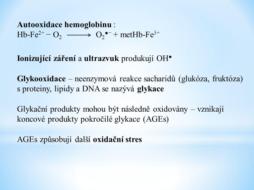 Autooxidace hemoglobinu : Hb-Fe 2+ − O 2 O 2 ●− + metHb-Fe 3+ Ionizující záření a ultrazvuk produkují OH ● Glykooxidace – neenzymová reakce sacharidů