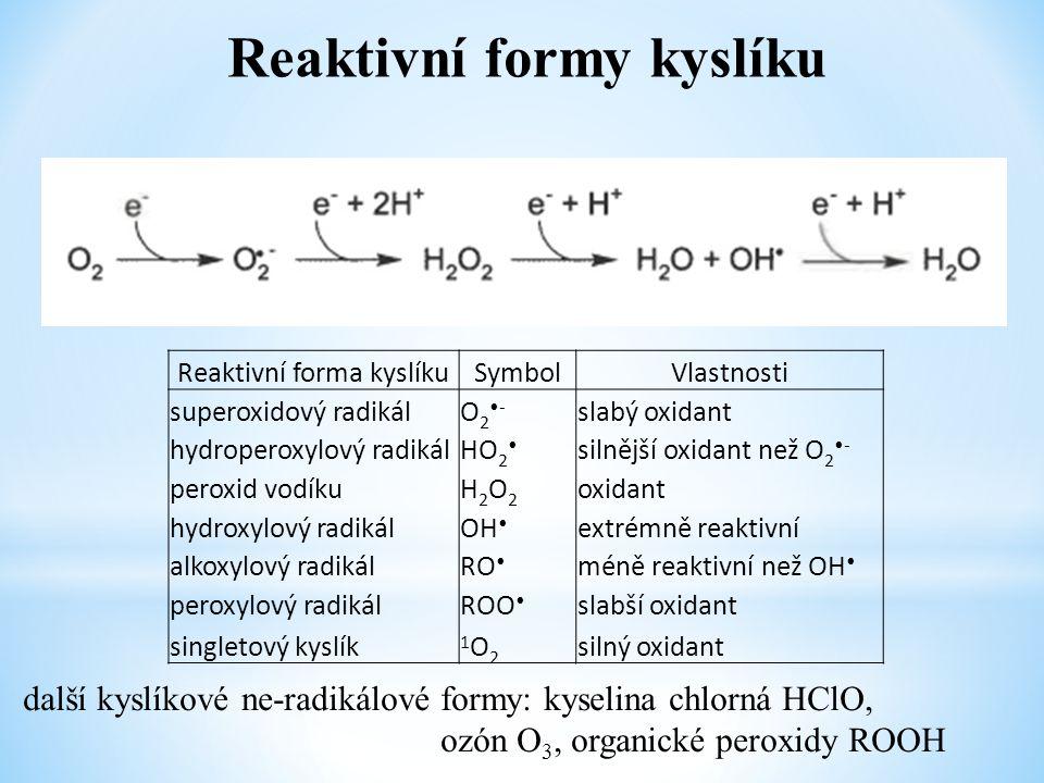 """Antioxidační ochrana ● enzymy – katalyticky odstraňují ROS (superoxid dismutáza, kataláza, glutathion peroxidáza, peroxiredoxiny) ● proteiny odstraňující pro-oxidanty (ionty kovů a hem) (transferin, albumin, haptoglobin, ceruloplasmin, hem oxygenáza) ● nízkomolekulární látky vychytávající volné radikály (""""obětní činidla ) ○ syntetizovány in vivo (bilirubin, kys."""