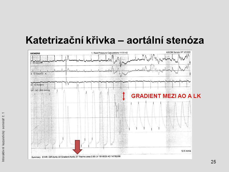 25 Katetrizační křivka – aortální stenóza GRADIENT MEZI AO A LK Interaktivní kazuistický seminář č. 1