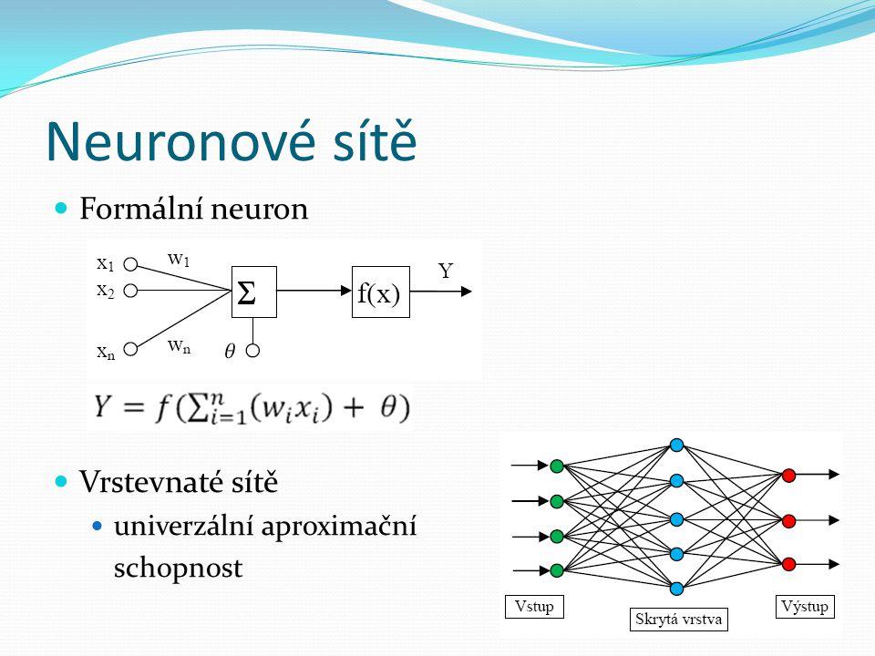 Neuronové sítě Formální neuron Vrstevnaté sítě univerzální aproximační schopnost