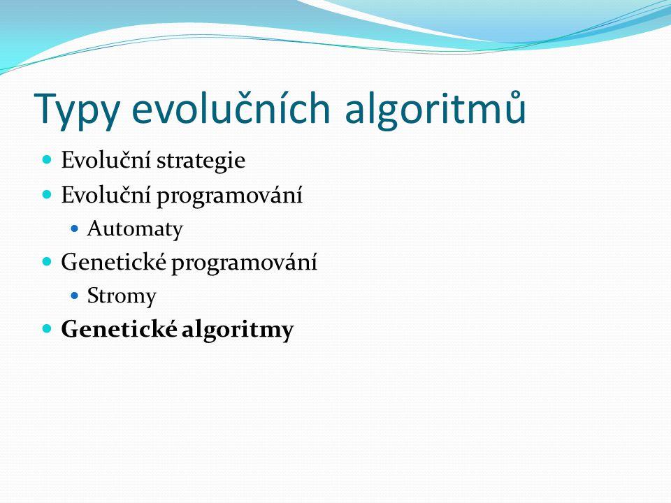 Typy evolučních algoritmů Evoluční strategie Evoluční programování Automaty Genetické programování Stromy Genetické algoritmy