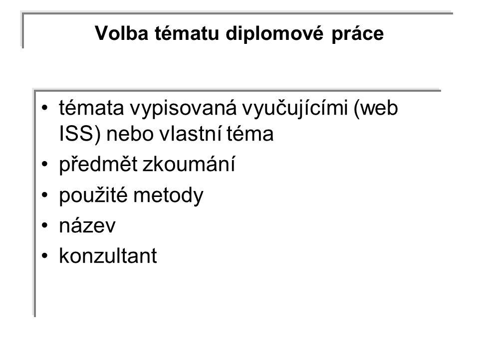 Volba tématu diplomové práce témata vypisovaná vyučujícími (web ISS) nebo vlastní téma předmět zkoumání použité metody název konzultant