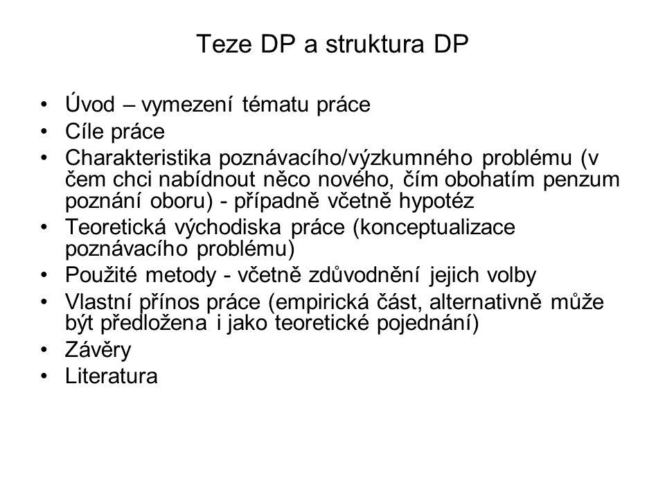 Teze DP a struktura DP Úvod – vymezení tématu práce Cíle práce Charakteristika poznávacího/výzkumného problému (v čem chci nabídnout něco nového, čím