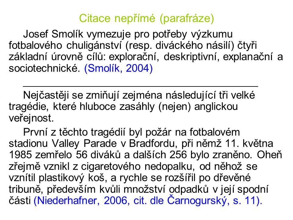 Citace nepřímé (parafráze) Josef Smolík vymezuje pro potřeby výzkumu fotbalového chuligánství (resp. diváckého násilí) čtyři základní úrovně cílů: exp