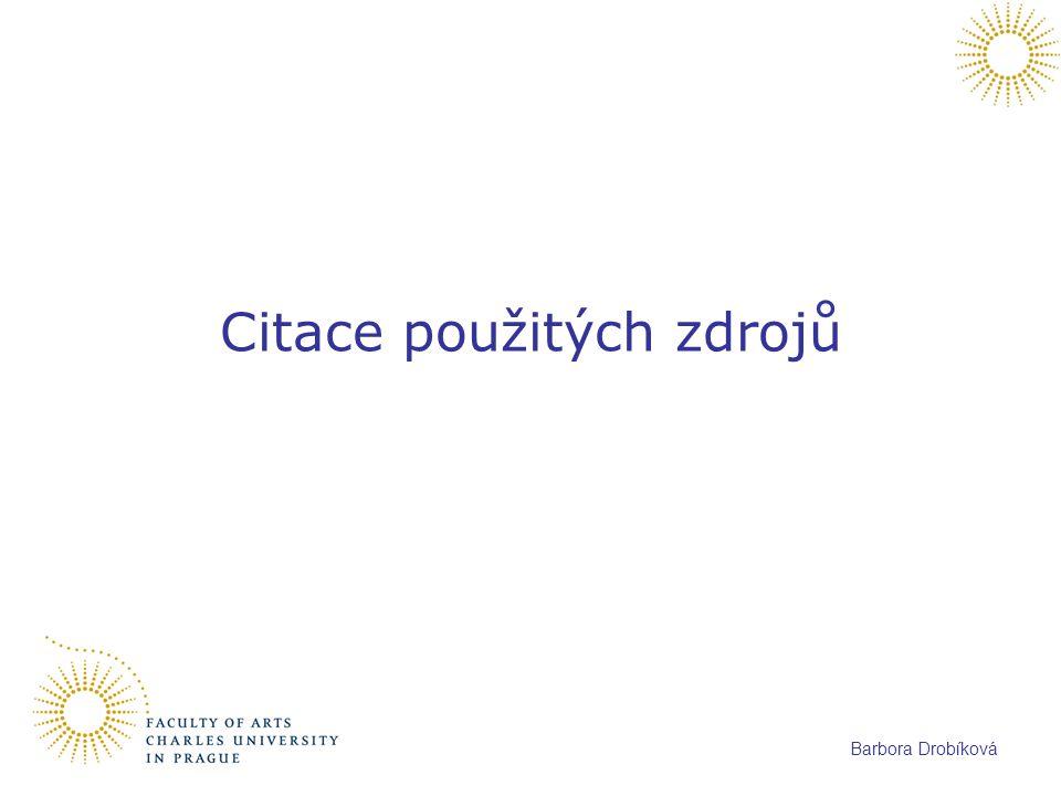 Barbora Drobíková Citace použitých zdrojů