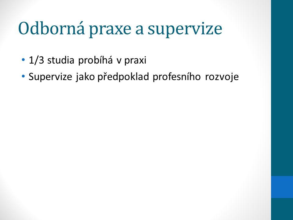 Odborná praxe a supervize 1/3 studia probíhá v praxi Supervize jako předpoklad profesního rozvoje