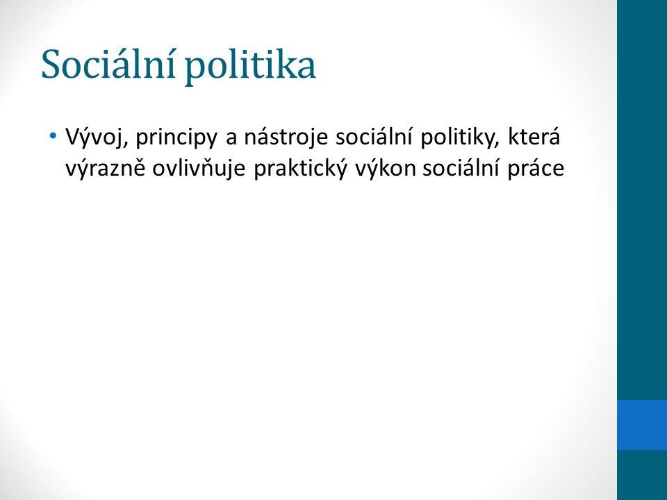 Sociální politika Vývoj, principy a nástroje sociální politiky, která výrazně ovlivňuje praktický výkon sociální práce