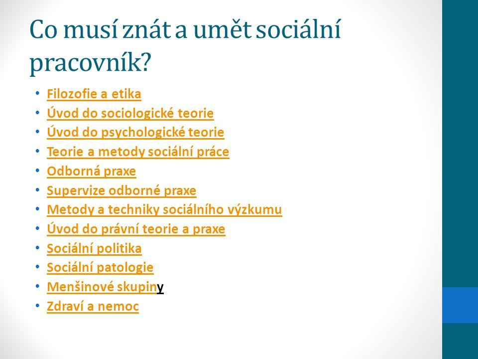 Co musí znát a umět sociální pracovník? Filozofie a etika Úvod do sociologické teorie Úvod do psychologické teorie Teorie a metody sociální práce Odbo