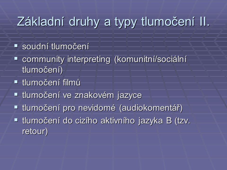 Základní druhy a typy tlumočení II.  soudní tlumočení  community interpreting (komunitní/sociální tlumočení)  tlumočení filmů  tlumočení ve znakov