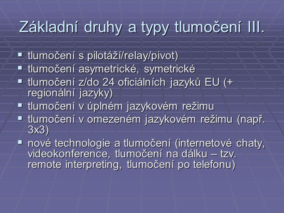 Základní druhy a typy tlumočení III.  tlumočení s pilotáží/relay/pivot)  tlumočení asymetrické, symetrické  tlumočení z/do 24 oficiálních jazyků EU