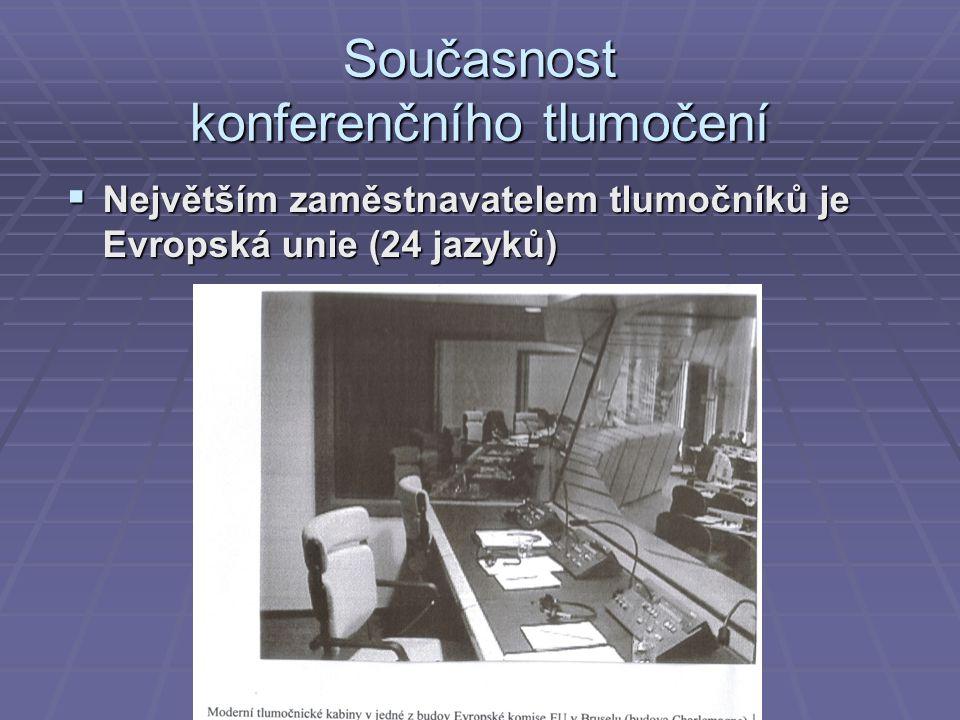 Současnost konferenčního tlumočení  Největším zaměstnavatelem tlumočníků je Evropská unie (24 jazyků)