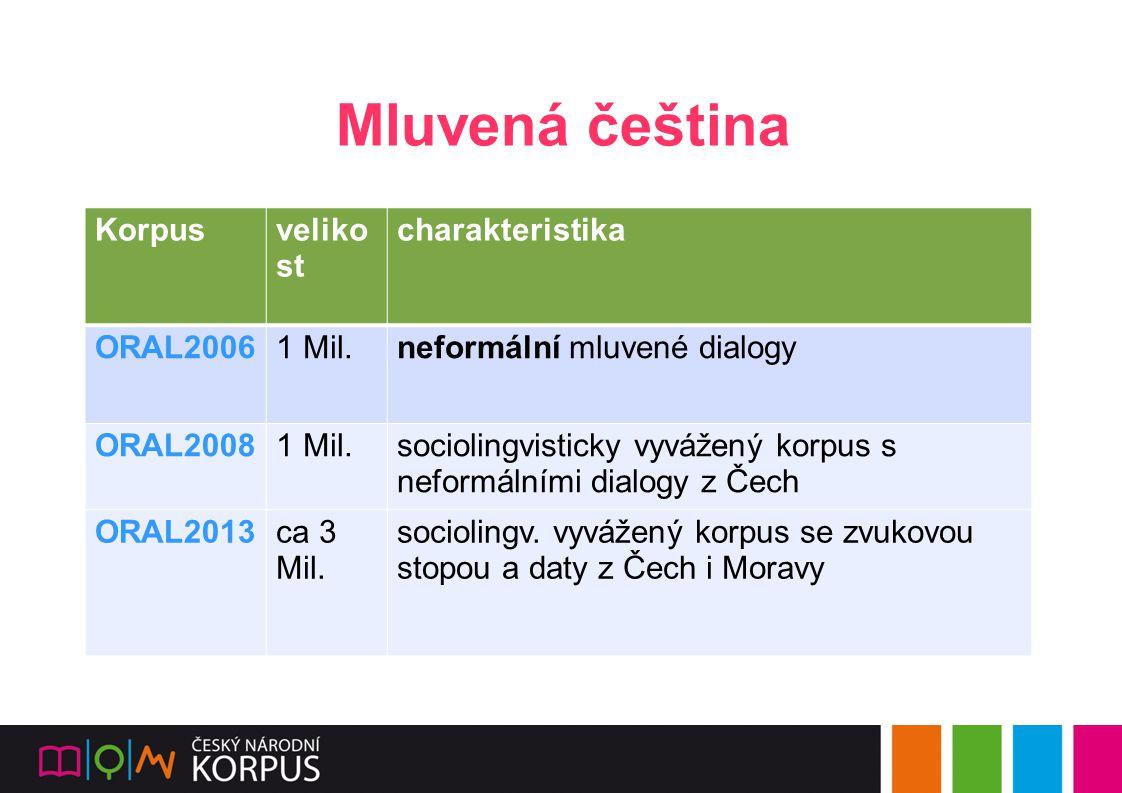Mluvená čeština Korpusveliko st charakteristika ORAL20061 Mil.neformální mluvené dialogy ORAL20081 Mil.sociolingvisticky vyvážený korpus s neformálními dialogy z Čech ORAL2013ca 3 Mil.