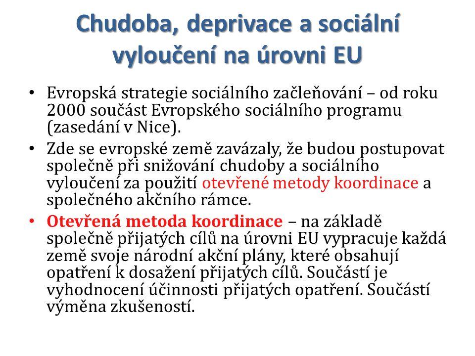 Chudoba, deprivace a sociální vyloučení na úrovni EU Evropská strategie sociálního začleňování – od roku 2000 součást Evropského sociálního programu (