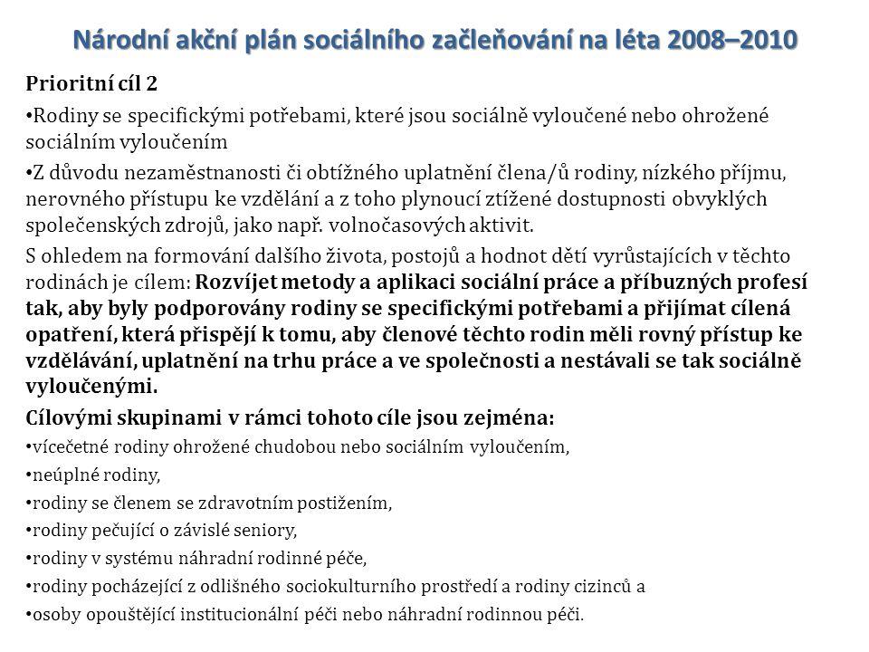 Národní akční plán sociálního začleňování na léta 2008–2010 Prioritní cíl 2 Rodiny se specifickými potřebami, které jsou sociálně vyloučené nebo ohrož