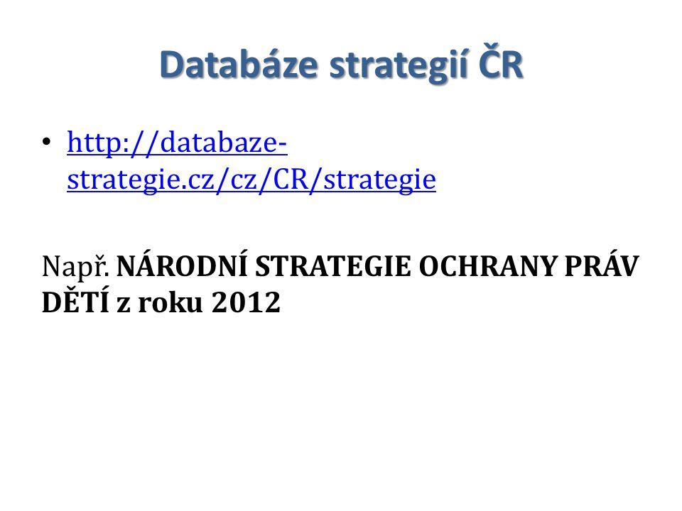 Databáze strategií ČR http://databaze- strategie.cz/cz/CR/strategie http://databaze- strategie.cz/cz/CR/strategie Např. NÁRODNÍ STRATEGIE OCHRANY PRÁV