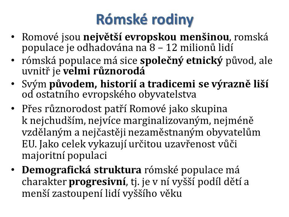 Rómské rodiny Romové jsou největší evropskou menšinou, romská populace je odhadována na 8 – 12 milionů lidí rómská populace má sice společný etnický p