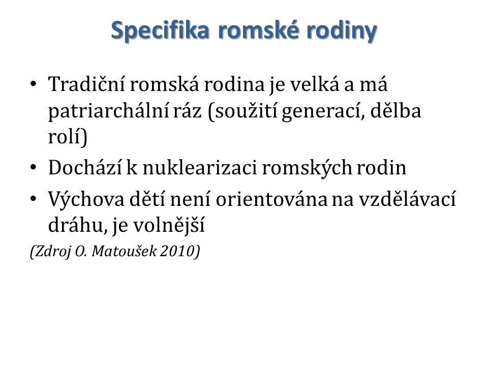 Specifika romské rodiny Tradiční romská rodina je velká a má patriarchální ráz (soužití generací, dělba rolí) Dochází k nuklearizaci romských rodin Vý